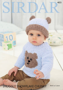 Sirdar Pattern 4825: Sweater & Hat in Snowflake Chunky