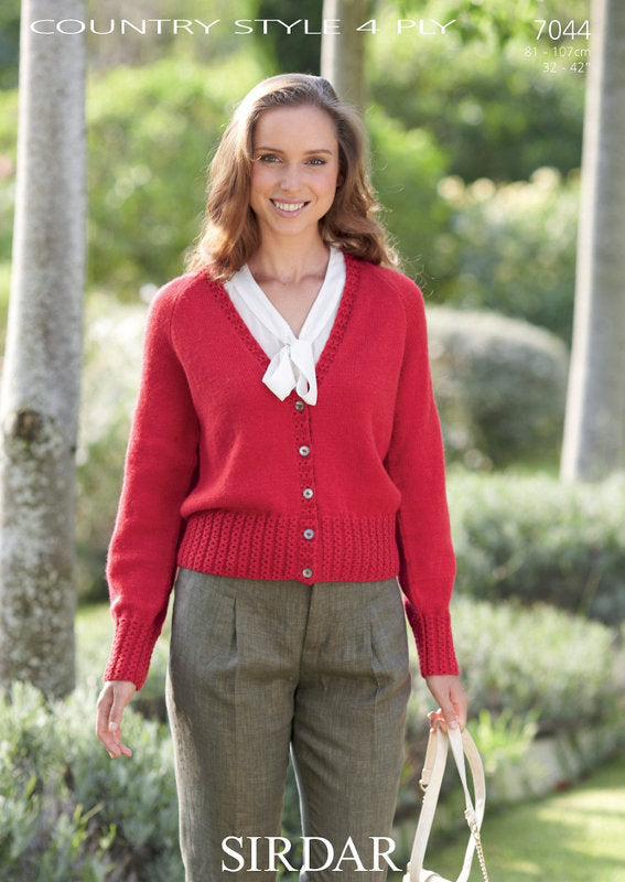 Sirdar Pattern 7044: Cardigan in Country Style 4 Ply