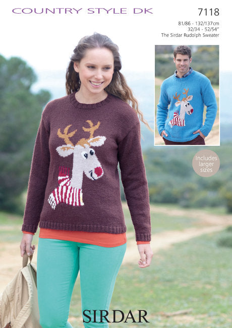 Sirdar Pattern 7118: Rudolph Sweater in Country Style DK