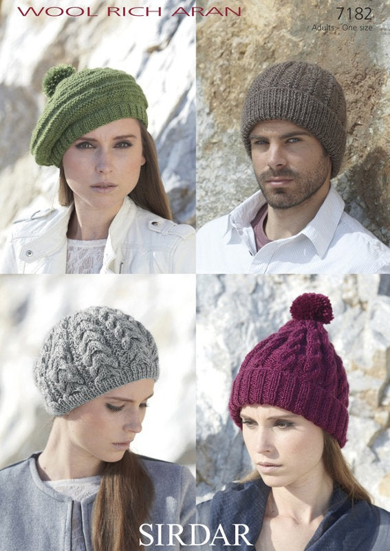 Sirdar Pattern 7182: Hats in Wool Rich Aran