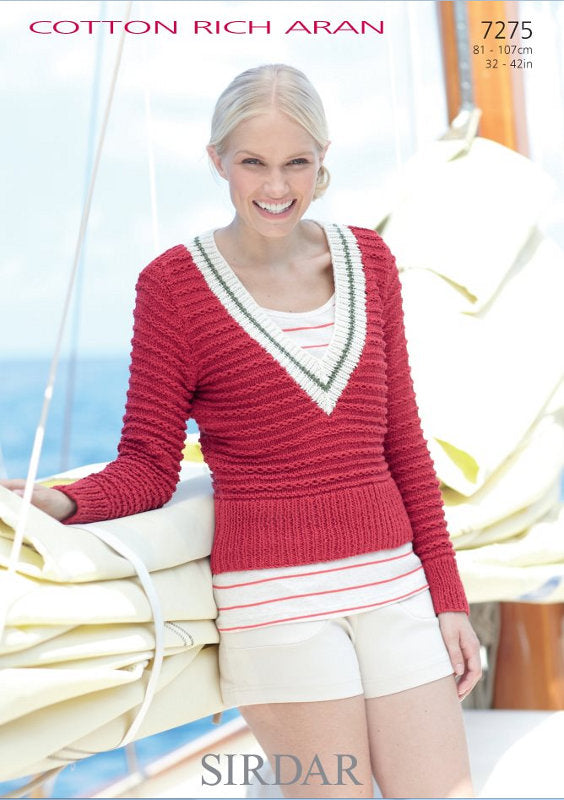 Sirdar Pattern 7275: Sweater & Tank in Cotton Rich Aran