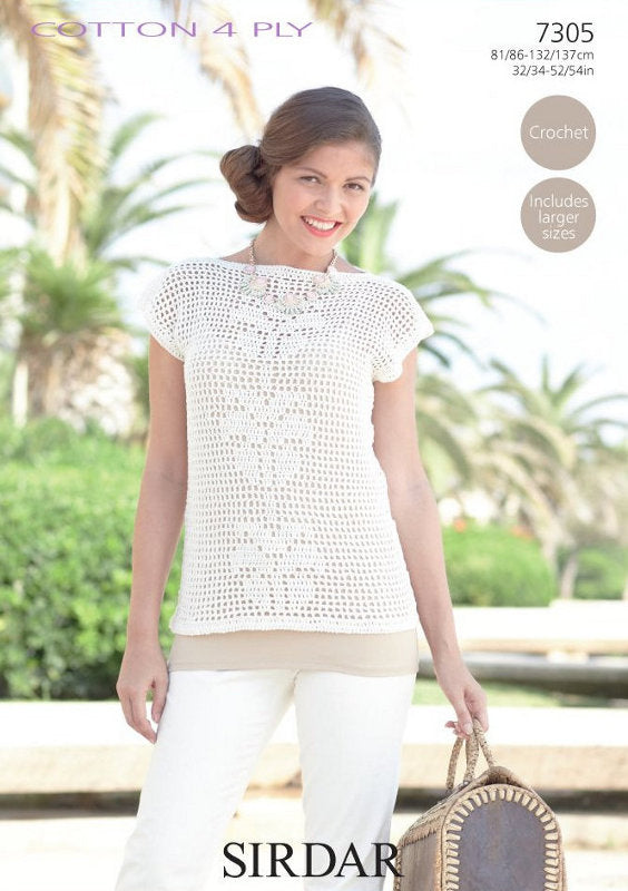 Sirdar Crochet Pattern 7305: Top in Cotton 4 Ply