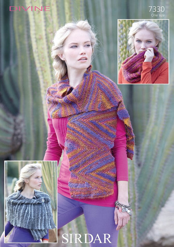 Sirdar Pattern 7330: Scarf, Snood & Wrap in Divine