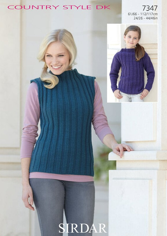Sirdar Pattern 7347: Sweater and Top in Country Style DK