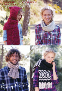 Hayfield Pattern 7494: Scarves & Snood in Chunky Tweed