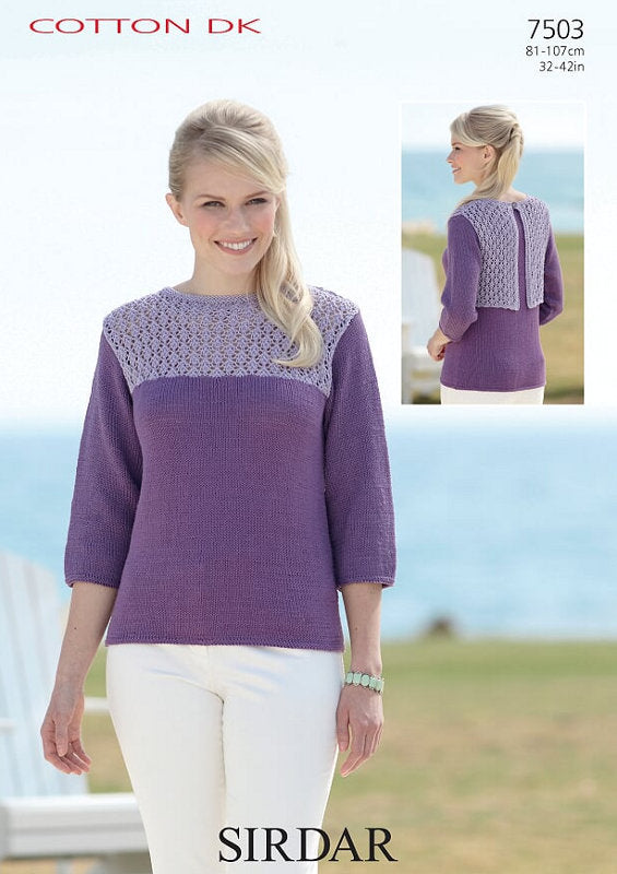Sirdar Pattern 7503: Top in Cotton DK