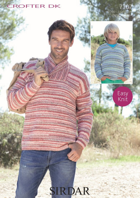 Sirdar Pattern 7707: Mens Sweater in Crofter DK