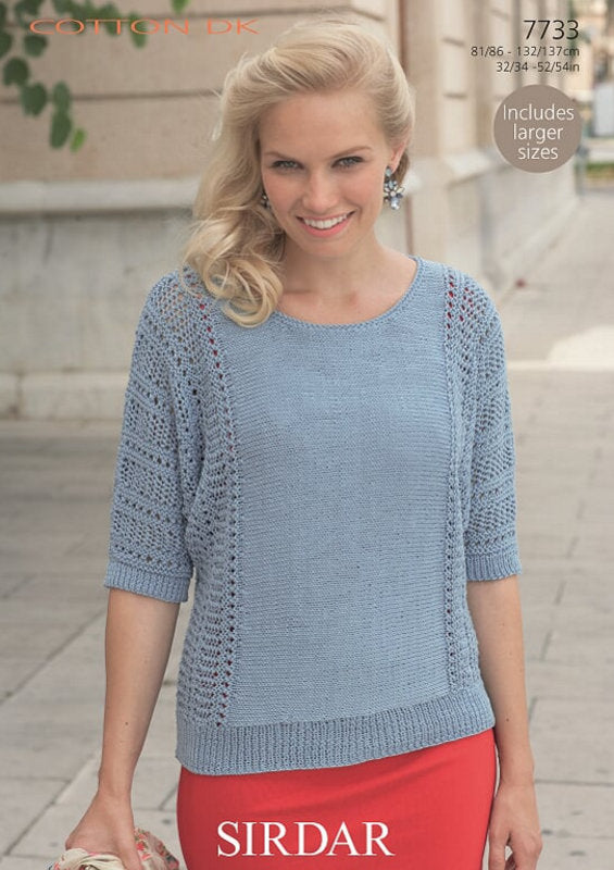 Sirdar Pattern 7733:  Top in Sirdar Cotton DK