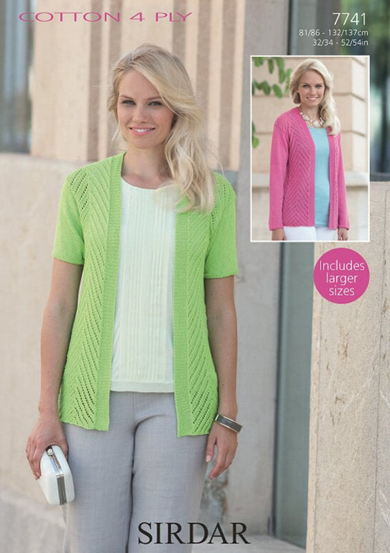 Sirdar Pattern 7741:  Jacket in Cotton 4 Ply