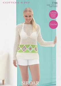 Sirdar Crochet Pattern 7746:  Top in Cotton 4 Ply