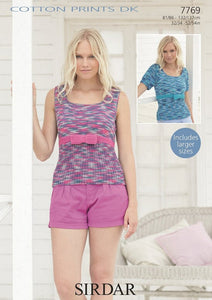 Sirdar Pattern 7769:  Top in Cotton Prints DK and Cotton DK