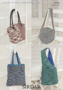 Sirdar Pattern 7770:  Bags in Cotton Prints DK & Cotton DK