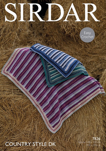 Sirdar Crochet Pattern 7826:  Blankets in Country Style DK