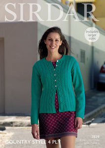 Sirdar Pattern 7839: Cardigan in Country Style 4 Ply