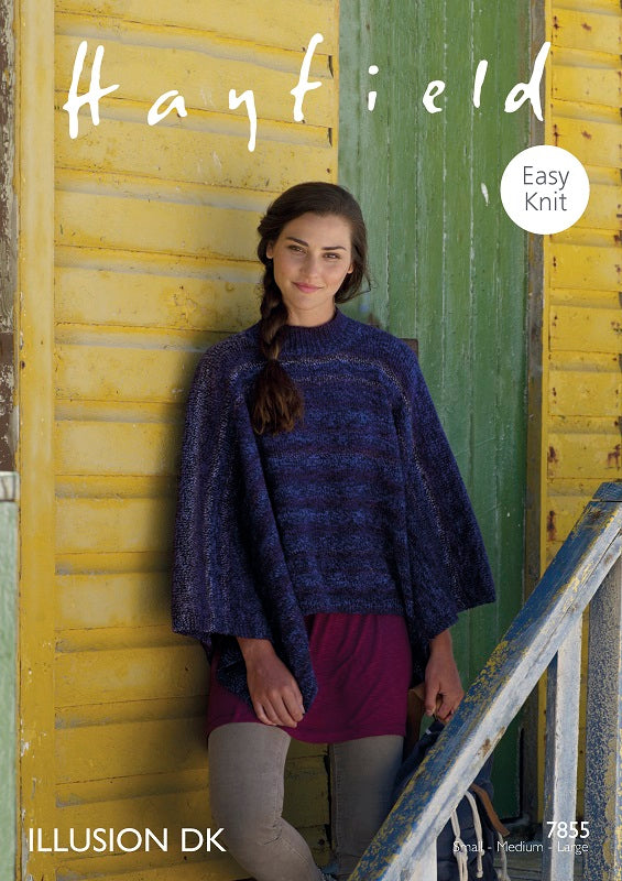 Hayfield Pattern 7855: Poncho in Illusion DK