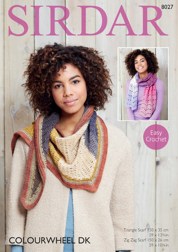 Sirdar Crochet Pattern 8027: Scarf in Colourwheel DK