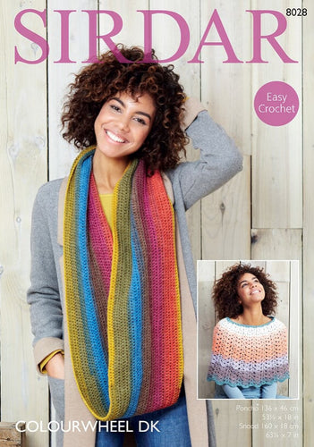 Sirdar Crochet Pattern 8028: Poncho & Snood in Colourwheel DK