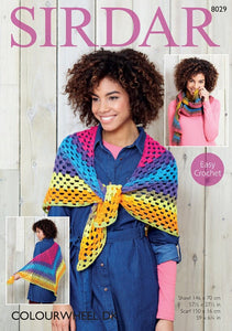 Sirdar Crochet Pattern 8029: Shawl & Scarf in Colourwheel DK