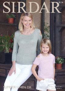 Sirdar Pattern 8136: Top in Summer Linen DK