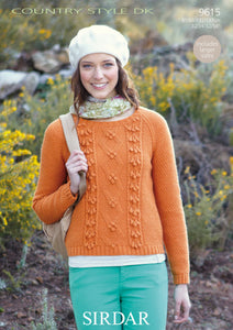Sirdar Pattern 9615: Cabled Sweater in Country Style DK