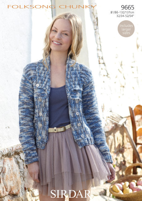 Sirdar Pattern 9665: Jacket in Folksong Chunky
