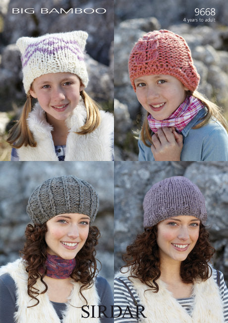 Sirdar Pattern 9668: Hats in Big Bamboo Super Chunky