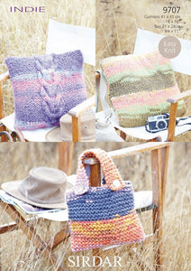 Sirdar Pattern 9707: Cushion Covers & Bag in Indie