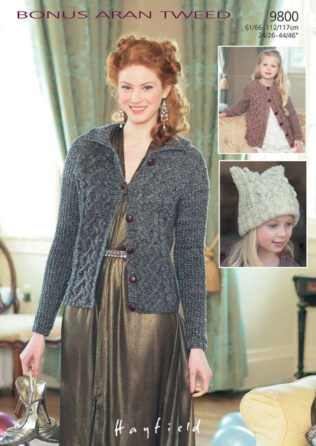 Sirdar Pattern 9800: Cabled Cardigan and Hat in Bonus Aran Tweed