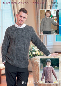 Sirdar Pattern 9803: Sweater and Hat in Bonus Aran Tweed