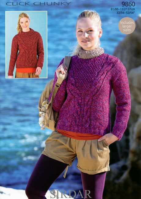 Sirdar Pattern 9860: Sweater in Click Chunky