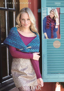 Sirdar Crochet Pattern 9888: Shawl and Scarf in Giselle Aran
