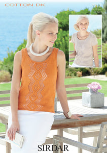 Sirdar Pattern 7212: Top and Vest in Cotton DK