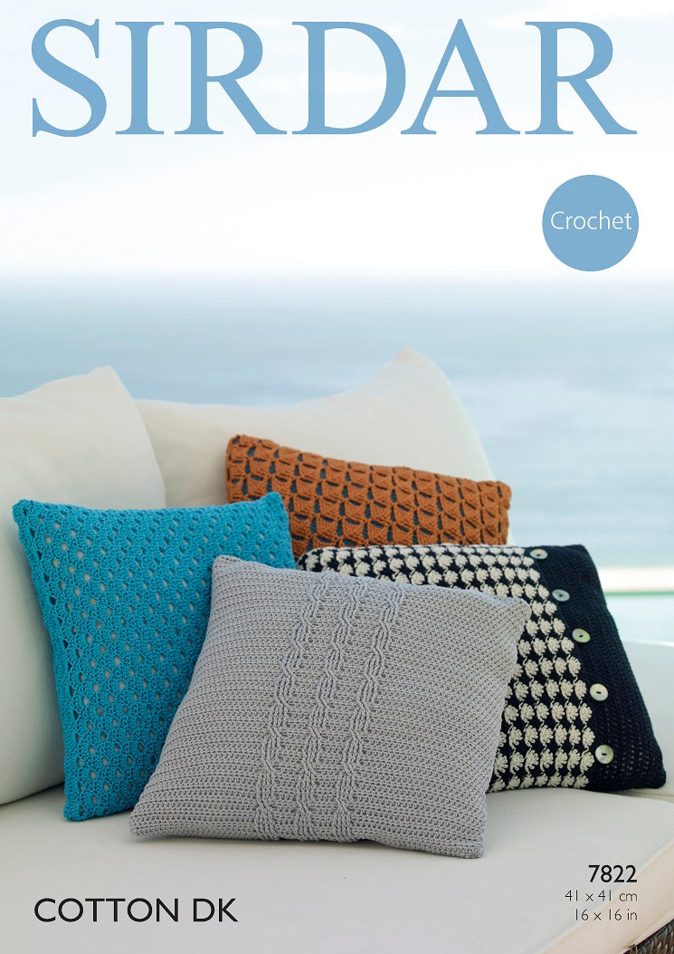 Sirdar Crochet Pattern 7822:  Cushion Covers in Cotton DK
