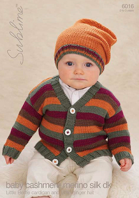 Sublime Pattern 6016: Cardigan, Hat in Baby Cashmere Merino Silk
