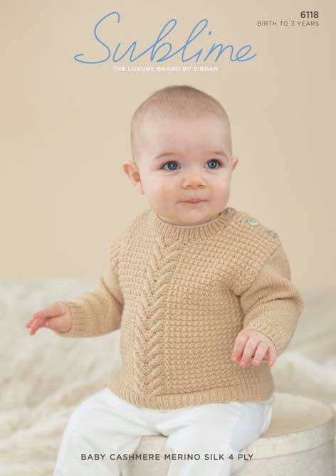 Sublime Pattern 6118: Sweater in Baby Cashmere Merino Silk 4 Ply