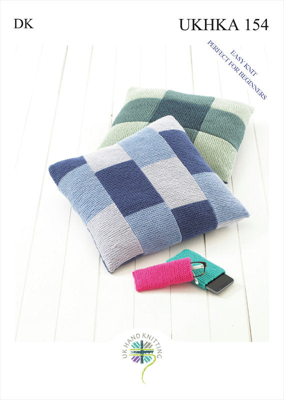 UKHKA Pattern 154: Cushion, Glasses Case & Mobile Cover in DK