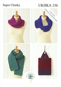 UKHKA Pattern 156: Scarf, Bag & Snoods in Super Chunky