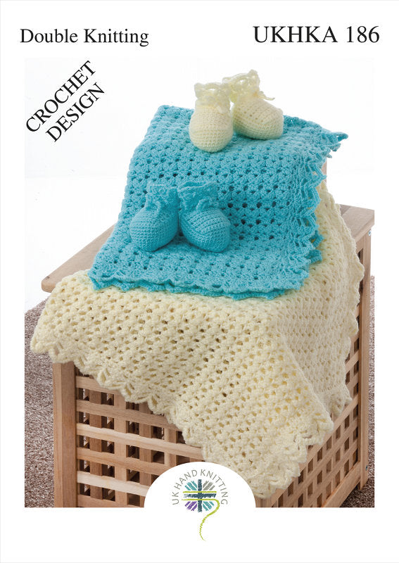 UKHKA Crochet Pattern 186: Blanket and Bootees in DK