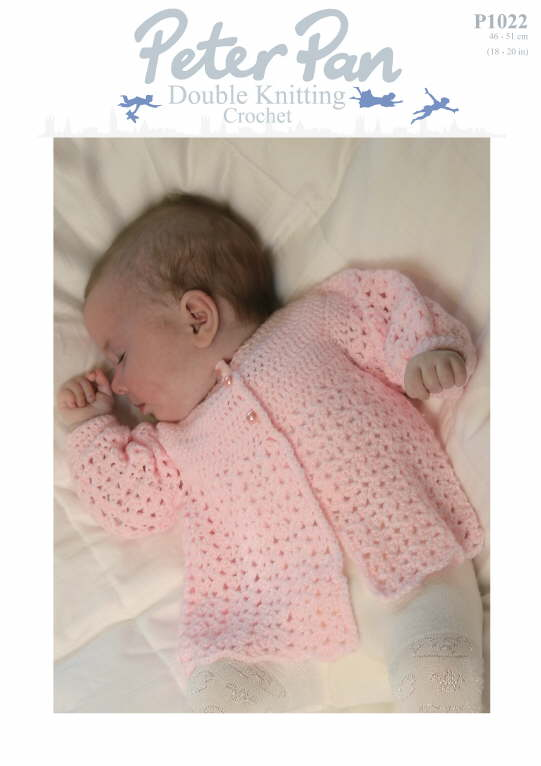 Peter Pan Crochet Pattern 1022: Baby Jacket in DK
