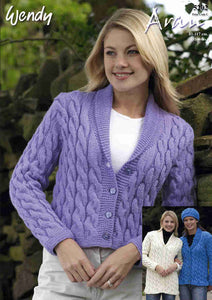 Wendy Pattern 5202: Jacket & Hat in Aran with Wool