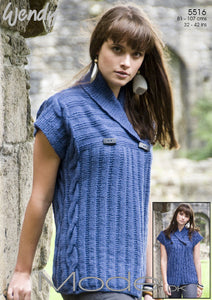 Wendy Pattern 5516: Cabled Tunic in Mode DK