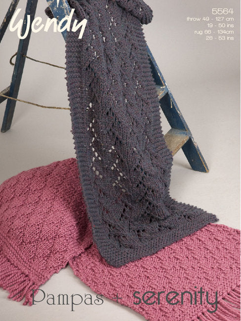 Wendy Pattern 5564: Rug/Throw in Pampas & Serenity Super Chunky
