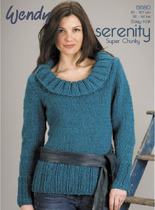 Wendy Pattern 5580: Sweater in Serenity Super Chunky