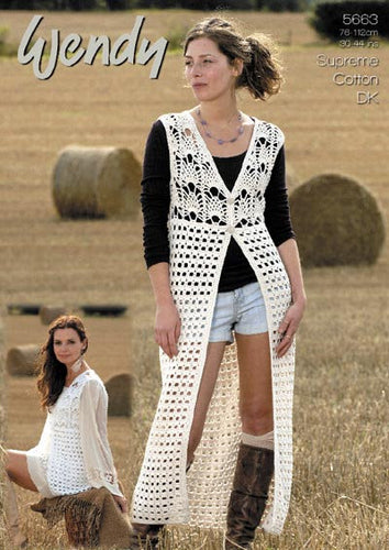 Wendy Crochet Pattern 5663: Waistcoat in Supreme Cotton DK