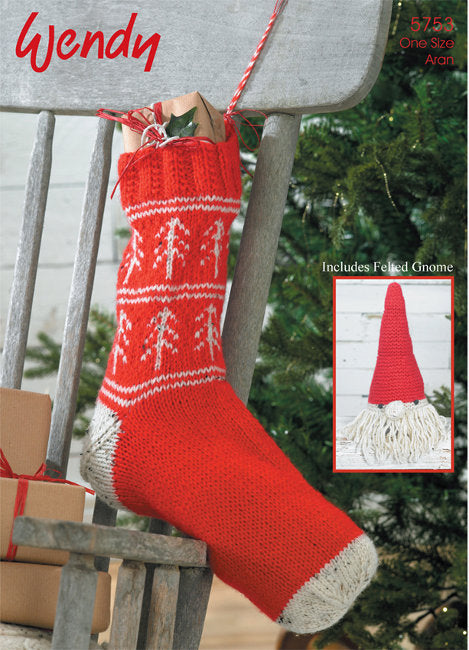 Wendy Pattern 5753: Stocking & Gnome in Aran with Wool