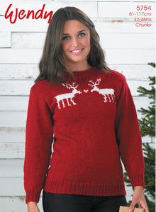 Wendy Pattern 5754: Reindeer Sweater in Merino Chunky