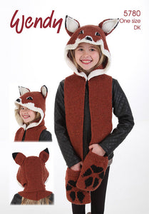 Wendy Pattern 5780: All-in-one Mr Fox Scarf, Hat & Mitts in DK