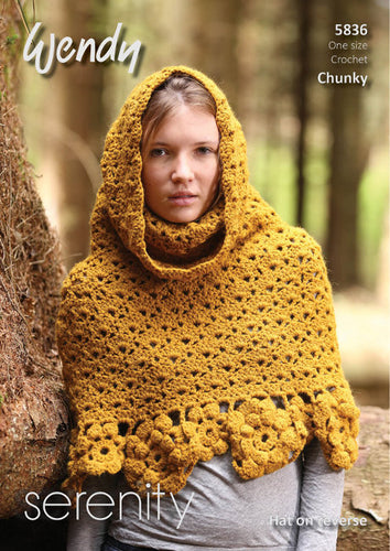Wendy Crochet Pattern 5836: Poncho & Hat in Serenity Chunky