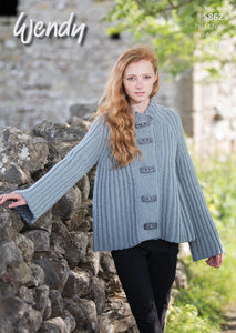 Wendy Pattern 5862: Ribbed Jacket in Aran with Wool