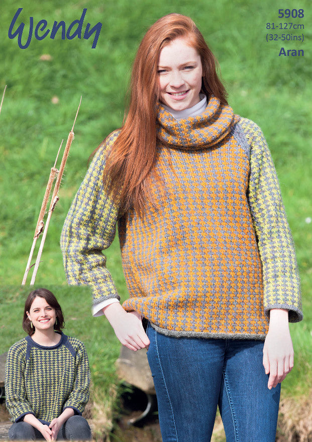 Wendy Pattern 5908: Tunic and Sweater in Wendy Cairn Aran